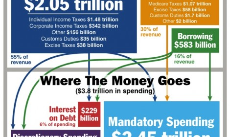 infographic on the US 2015 budget; where the money comes from and where it goes