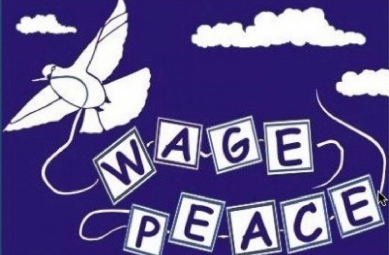 """Illustration of a dove pulling letters spelling out """"Wage Peace"""""""
