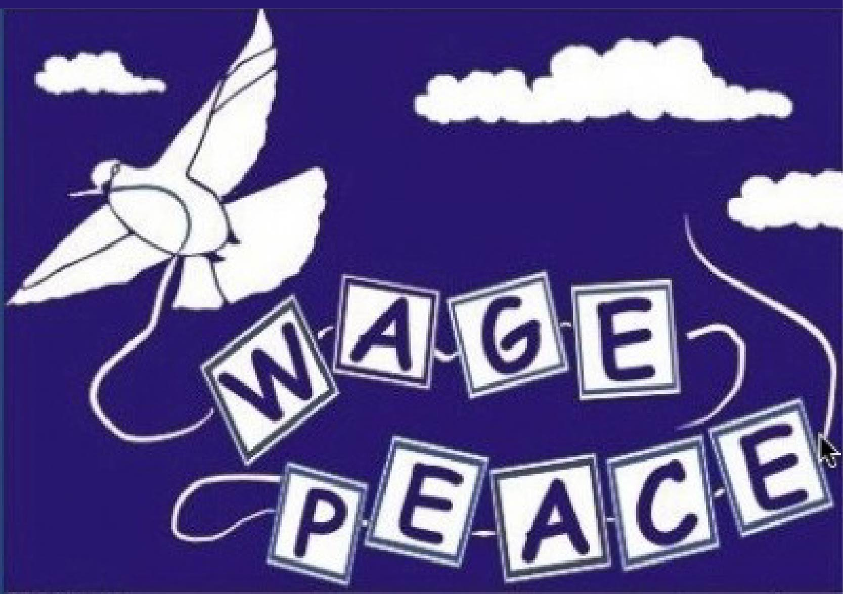 "Illustration of a dove pulling letters spelling out ""Wage Peace"""