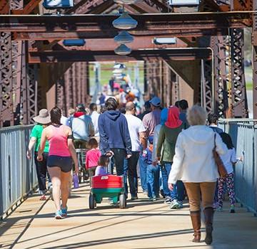 people crossing bridge in Pilgrimmage for Peace 2016