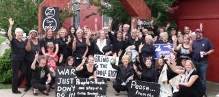 group of women in black