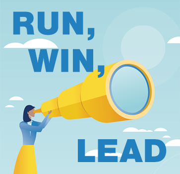 "Illustration with woman with a giant yellow telescope and caption: ""Run, Win, Lead"""